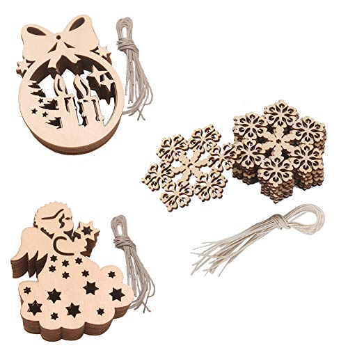 FUNNYHOUSX Wooden Hanging Slices Embellishment Unfinished Wood Christmas Tree Hanging Ornament Crafts Set for DIY Christmas,Wedding,Holiday Decoration Supplies (30pcs B)
