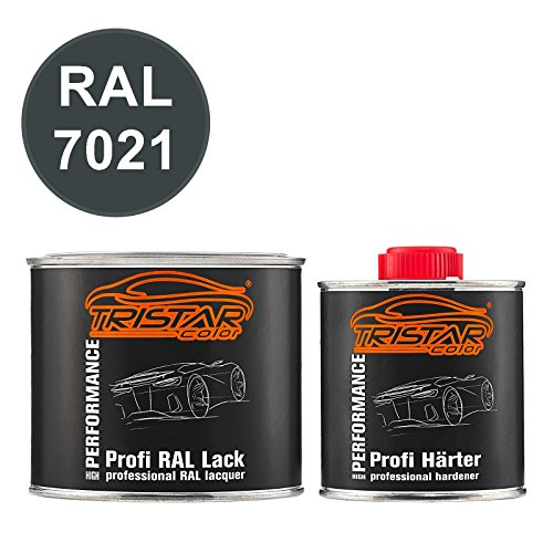 TRISTARcolor RAL 7021 Schwarzgrau seidenmatt 2K Autolack 0,75 Liter / 750 ml Dose inkl. Härter