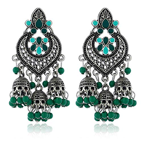 Mengmengda Pendientes de gota retro indio Bollywood Kundan Jhumka Jhumki Gitana joyería de moda
