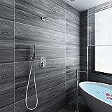 Acezanble Juego de ducha termostática cuadrada con válvula cromada de 10 pulgadas, ducha de lluvia y ducha de mano, montaje...