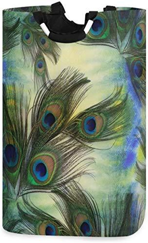 Bolsa de lavandería con plumas de pavo real de acuarela,cesto de lavandería,cesta de tela,elegante,plegable,para el hogar,bolsa de lavandería con asas