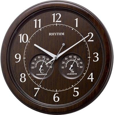 リズム(RHYTHM) 掛け時計 アナログ オルロージュインフォートM38 温度 ・ 湿度 計付 茶 RHYTHM 8MGA38SR23