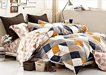 Minimal Style Geometric Shapes Duvet Quilt Cover Modern Scandinavian Design Bedding Set 100-percent Cotton Soft Casual Reversible Block Print Triangle Pattern  King Copper