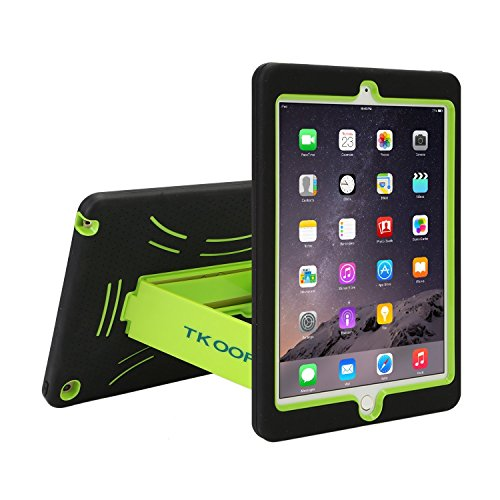 TKOOFN Shockproof Bumper Case Cover with Built in Stand for 2014 iPad Air 2+ Screen Protector + Stylus + Cleaning Cloth, Black/Green - PT7806