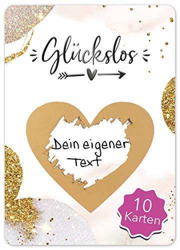 JoliCoon - Luxus 10 Rubbellose selber machen - Personalisierte Geschenke oder Gutschein Karte Geburtstag, Hochzeit, Valentinstags-Karte