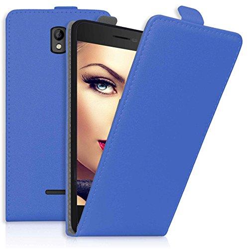 mtb more energy® Flip-Hülle Tasche für Coolpad Porto (E560, 4.7'') - Blau - Kunstleder - Schutz-Tasche Cover Hülle