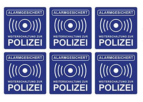 6 Stück Premium Aufkleber Alarmanlage Hinweis Alarmgesichert 5 x 5 cm Weiterschaltung Polizei Witterungs- und UV-Beständig