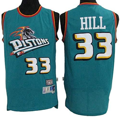 Camisetas De Baloncesto Para Hombre, Detroit Pistons # 33 Grant Hill Uniformes De Baloncesto Retro De La NBA Camisetas Sin Mangas Chalecos Camisetas Transpirables Y De Secado Rápido,Verde,M(170~175CM)