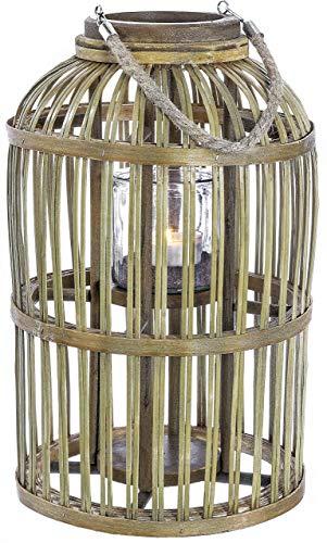 Krenz | SAI GON Bambus Laterne Holz Windlichthalter Braun mit Glas und Henkel | H 43 cm D 26 cm | Holzdeko Frühlingsdeko Sommerdeko