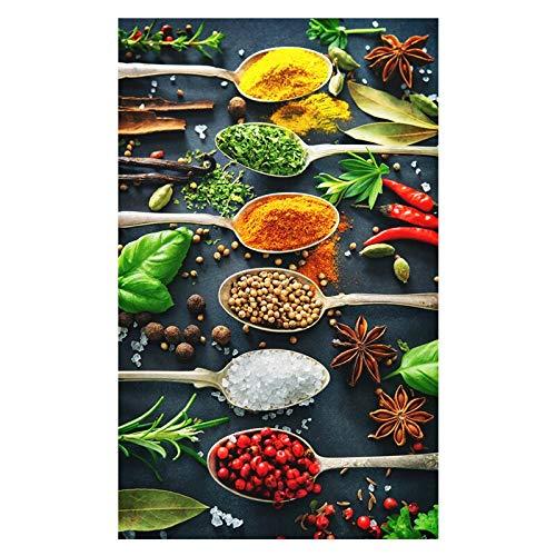 HD Cocina Colorida Tema Mezcla de cucharas de condimentos Hierbas Especias Pimienta Anís Cocina Lienzo Pintura Arte de la Pared Póster Restaurante Dormitorio Sala de Estar Decoración del hogar