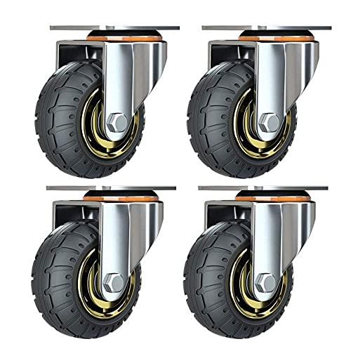 Kit de 4 ruedas universales de 3 pulgadas sin frenos. Ruedas de carro silenciosas. Ruedas universales con ruedas giratorias de 75 mm. Ruedas industriales de transporte y ruedas para muebles.