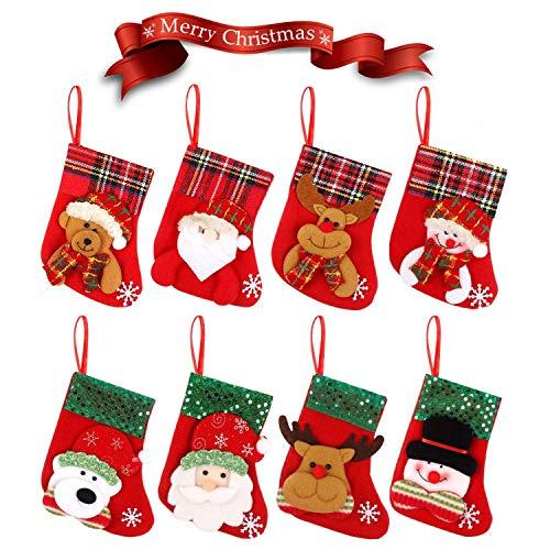 WELLXUNK Weihnachtsstrumpf Weihnachtssocken Klein Nikolaussocken Nikolausstrumpf Hängende Strümpfe Weihnachten Süßigkeiten Geschenk Beutel zum Befüllen und Aufhängen Weihnachtsdeko 8 Stück (A)