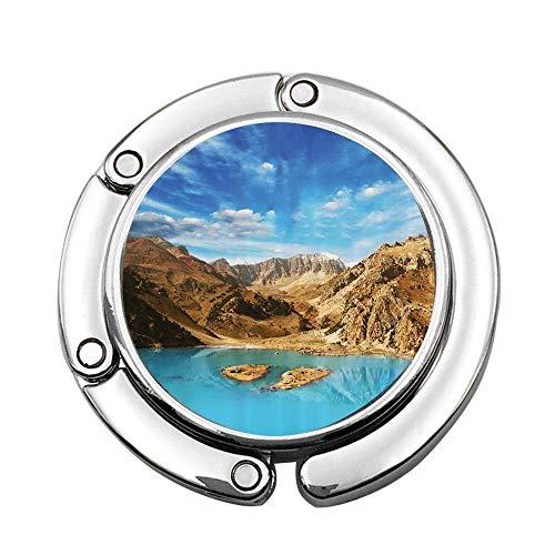 Lago con Aspecto de cráter Entre Las áridas montañas de Pamir Asia en un día de Verano Imagen Bolso de Mano Plegable Personalizado Bols