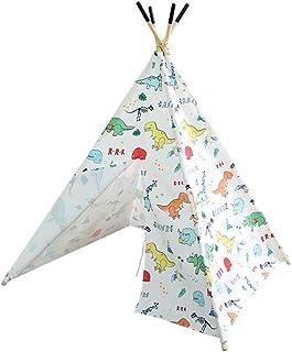 XUZg-wFence XZGang Indiskt tipi-tält med 4 hörn, babys lektält hus – 4 massivt trästavar med halkfria fötter – tecknad din...
