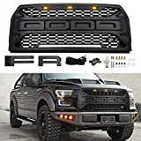 Front Grill for Ford F150 2015 2016 2017, Grille Replacement Crossbar & Amber LED Lights Included, Raptor Style Grill (Black)
