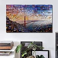 キャンバス絵画モダンスタイルゴールデンブリッジモジュラー絵画ポスターとプリント壁アート写真リビングルームの家の装飾-60x90cmフレームなし