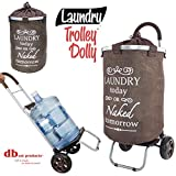 dbest products Laundry Trolley Dolly, Brown Laundry Bag Hamper Basket cart with wheels sorter