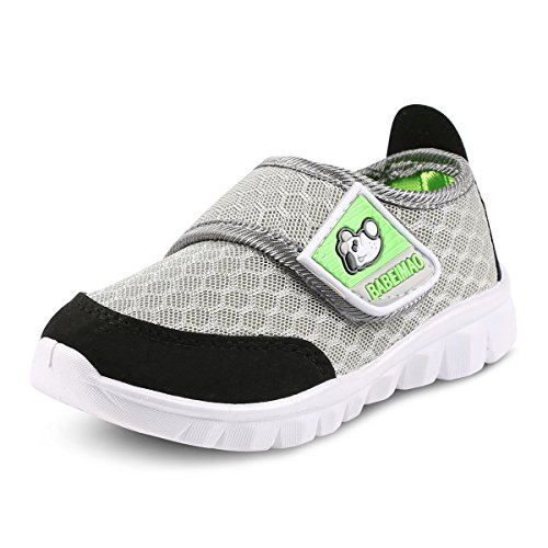 XIPAI Toddler Kid's Cute Casual Lightweight Walking Athletic Shoes Boys and Girls Mesh Strap Sneakers Grey