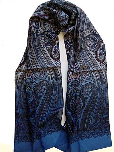 BBM-STYLE Seidenschal Herren Halstuch Seide Seidentuch zum Binden Paisley blau