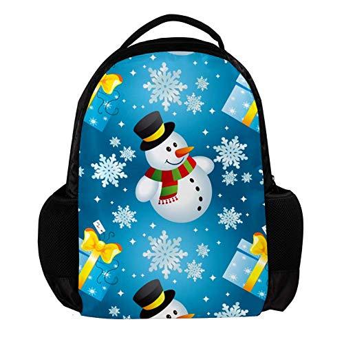 TIZORAX Muñeco de nieve con regalo mochila escolar, mochila universitaria, bolsa de viaje para computadora portátil, mochila para hombres y mujeres