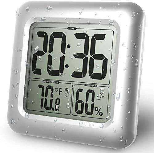 BALDR 温度計 湿度計 デジタル 温湿度計 防水 温度 湿度計 LCD防水時計大画面 シャワー時計 温度計 湿度計 デジタル 時計 壁掛け 時計 お風呂 防水クロック 時間表示湿度計 温度計 デジタル1年保証シャワー温度湿度計 (シルバー)