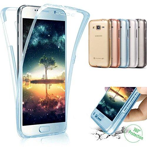 Coque Galaxy J1 2016,Etui Galaxy J1 2016,Intégral 360 Degres avant + arrière Full Body Protection Transparente Silicone Gel TPU Souple Housse Etui Case Coque pour Galaxy J1 (2016) SM-J120F 4.5\