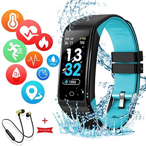 Montre Connectée Intelligente Femmes Homme Enfant Smartwatch Etanche Bracelet Connecté Podometre Cardio fréquencemètre et Ecouteur Bluetooth Sport pour iPhone/Samsung/Huawei (Bleu)