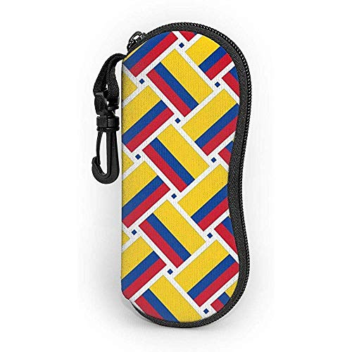 Funda para gafas de sol con diseño de bandera de Colombia con mosquetón, ultraligera, portátil, neopreno, con cremallera, funda suave