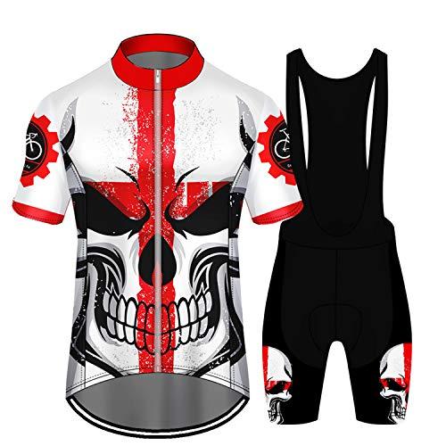 RENDONG Uomo Ciclismo Maglia MTB Maniche Corte PRO Teschio Traspirante Full-Zipper Road Bike Shorts con 3D Gel Imbottito Reflective Anti-UV, Outdoor MTB Bike,A,M