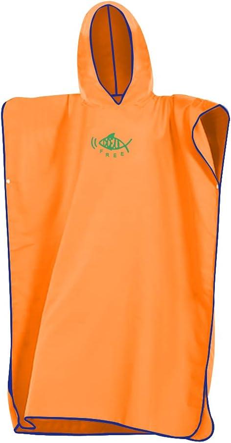 Toalla de poncho con capucha para cambiar, de secado rápido, ligera, extra larga, en microfibra, poncho de surf, universal SIize para hombres, mujeres y adultos, adecuado para natación, surf (naranja)