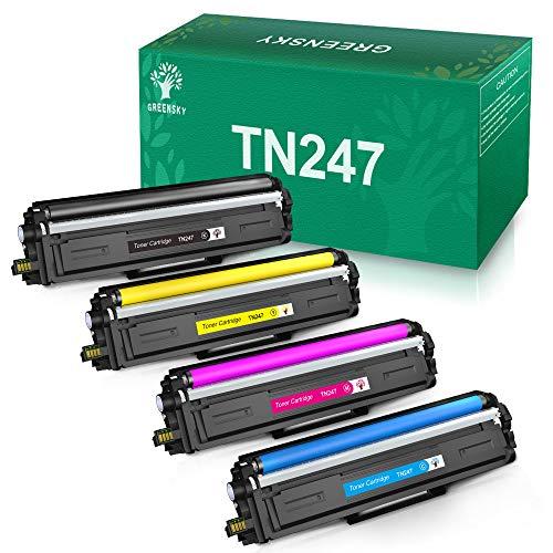 GREENSKY Kompatible Tonerkartusche Ersatz für Brother TN247 TN243 für HL-L3210CW HL-L3230CDW HL-L3270CDW MFC-L3710CW MFC-L3730CW MFC-L3750CDW MFC-L3770CDW DCP-L3510CDW DCP-L3550CDW(4 Packung)