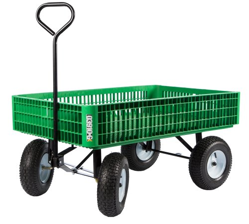 Best Deals! Farm Tuff 30-Inch by 46-Inch Crate Wagon with 5-Inch by 13-Inch Tires, Green/Grey/Blue
