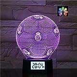 Pâques Perles de lampe LED Illusion du football 3D Night Light, Réveil intelligent Decora for...