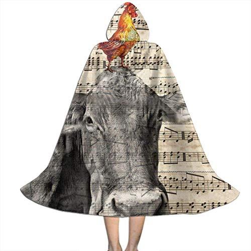 Amanda Walter Capa para nios Capa de Vaca Gallo Collage Vintage Abrigo con Capucha Traje de Bruja Halloween