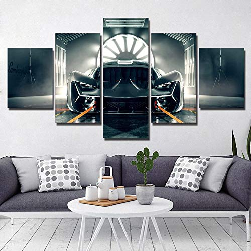 Modular Canvas Painting Home Decor 5 Pieces/pcs Luxury Racing Car Pictures Modern Printed Poster for Living Room Wall Art Frame