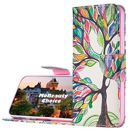 MoBeautyChoice kompatibel mit Motorola Moto G6 Plus Hülle + Displayschutz, Buntes Musterdesign Flip PU Leder Schutzhülle Stand Handy Tasche Brieftasche Wallet Case Cover (Baum)