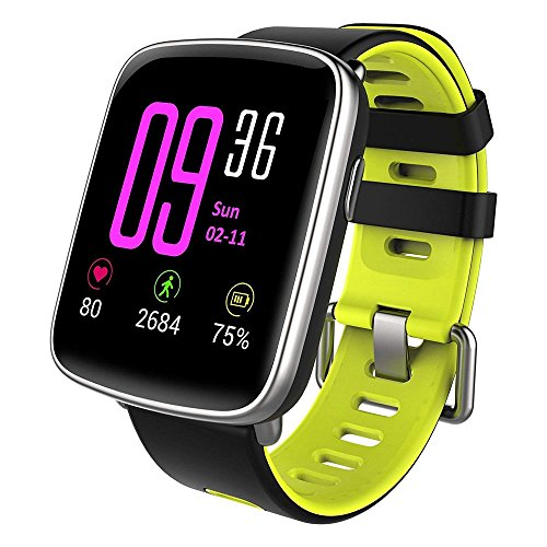 YANGFH Silikon Smart GV68 Professionelle wasserdichte Uhr Pulsmesser Schritte Bluetooth Call Smartwatch (Color : Yellow)