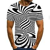 Camiseta 3D Patrones Impresos Manga Corta Camiseta,Vórtice Abstracto Blanco y Negro spin Ball Impresión Digital,S