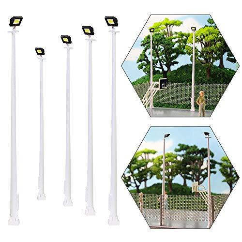 Evemodel 5Stk. Modellbahn Spur h0 Platz Lampe Licht 10cm 1:87 Spielfeld Straße Laternen Dekoration
