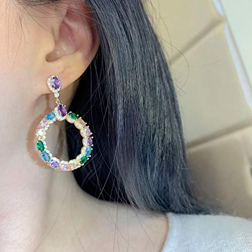 BAJIE Earring Fashionable Colorful Zircon Shiny Circle Drop Earrings Suitable For Women To Weddings And Parties