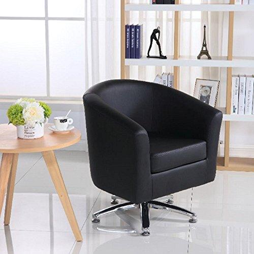 Sillón de diseño de piel con respaldo bajo, para sala de estar, recepción, oficina, color negro 71W x 64D x 77H cm