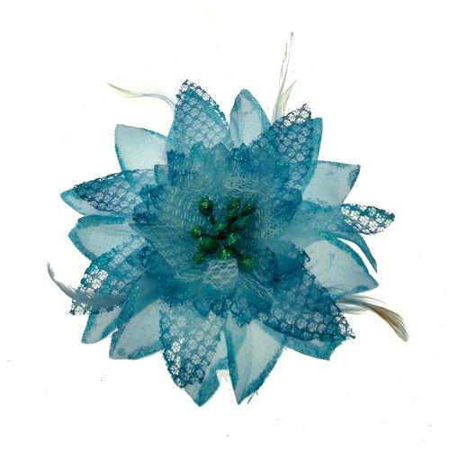 Acosta - de Color Azul con Purpurina y DE Plumas de - corsé Lily tamaño Grande Tela Diseño de Flores - Broche con Forma de/Adornos para/Fashion Accessory
