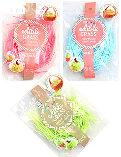 Edible Easter Grass Green Apple, Pink Strawberry, Blueberry Flavors (3 pack)