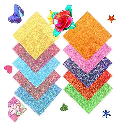 50 hojas de papel brillante de un solo lado, varios colores brillantes