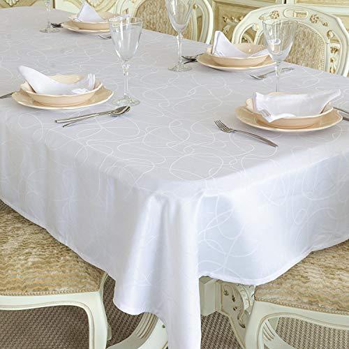 COLOR BLANCO - MANTEL ANTI-STAIN TRATAMIENTO - GRANDE - REF, LÍNEAS, blanco, 59 x 157' (150 x 400cm)