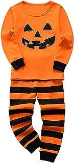 amropi Pijama Conjunto Niños Calabaza Manga Larga Sudadera con Capucha Tops Raya Pantalon Halloween Costume Ropa 2-8 años