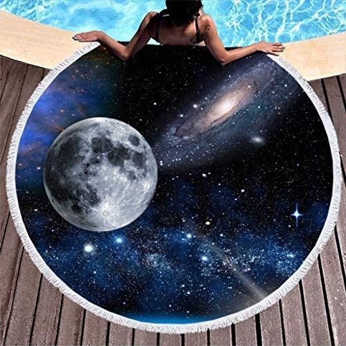 Fantasía Luna Sol Cielo Estrellado Nebulosa Galaxia Impresión de Arte Toalla de Playa Redonda Absorbente de Agua con borlas Toalla de Piscina / natación con Flecos Redondos Indios Blanco 59 pulga