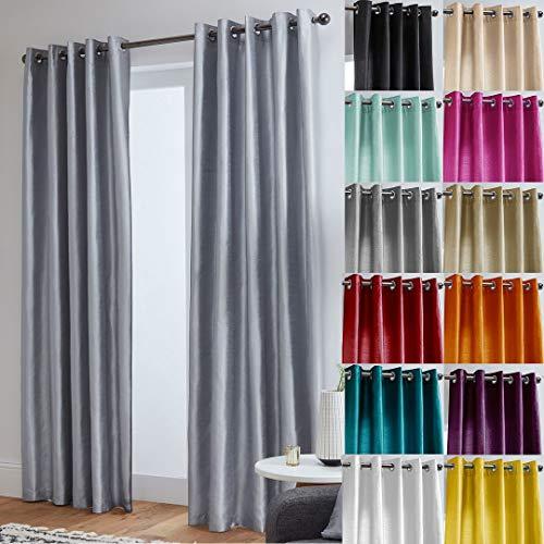 John Aird Luxury Faux Silk Fully Lined Eyelet Curtains (Silver, 117cm Width x 183cm Drop (46'x 72')