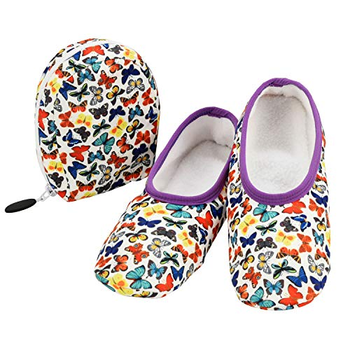 Snoozies Skinnies & Travel Pouch | Purse Slippers for Women | Travel Flats with Pouch | Womens Slippers On The Go | Butterflies | Medium