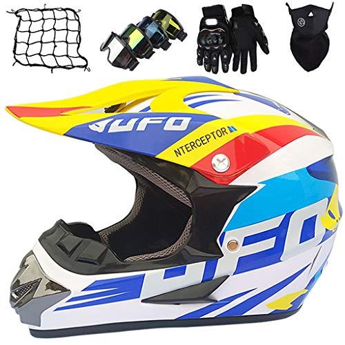 Cascos Moto, MJH-01 Cascos Motocross Niños Set Casco Moto Integral Adultos para MTB Downhill Dirt Bike MX ATV Scooter Casco Todo Terreno Unisex con Gafas/Guantes/Máscara/Red de Bungy